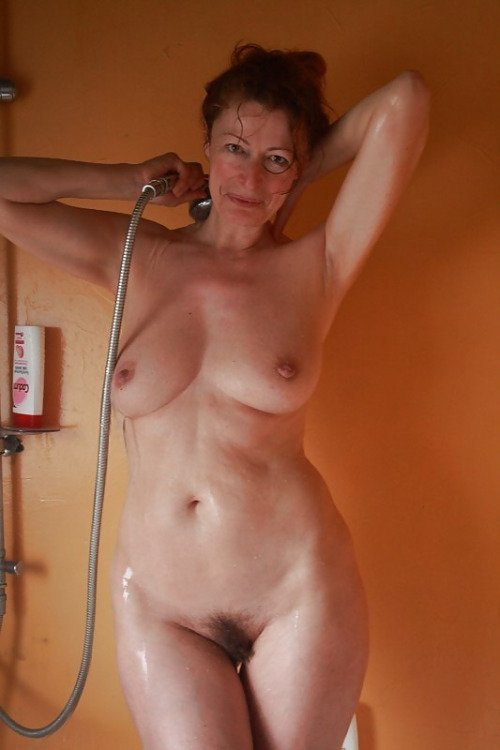 Mature mother in the shower