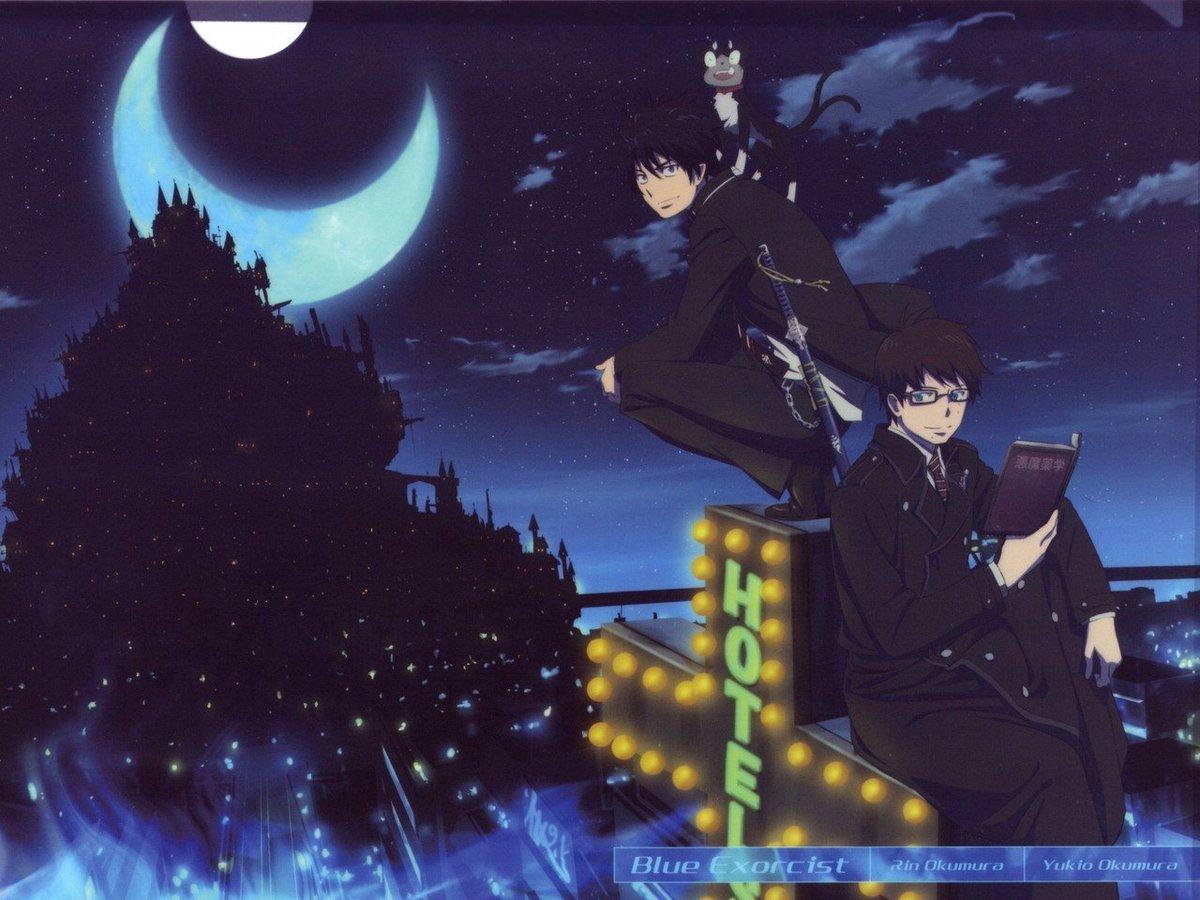 青の祓魔師の夜空ショット