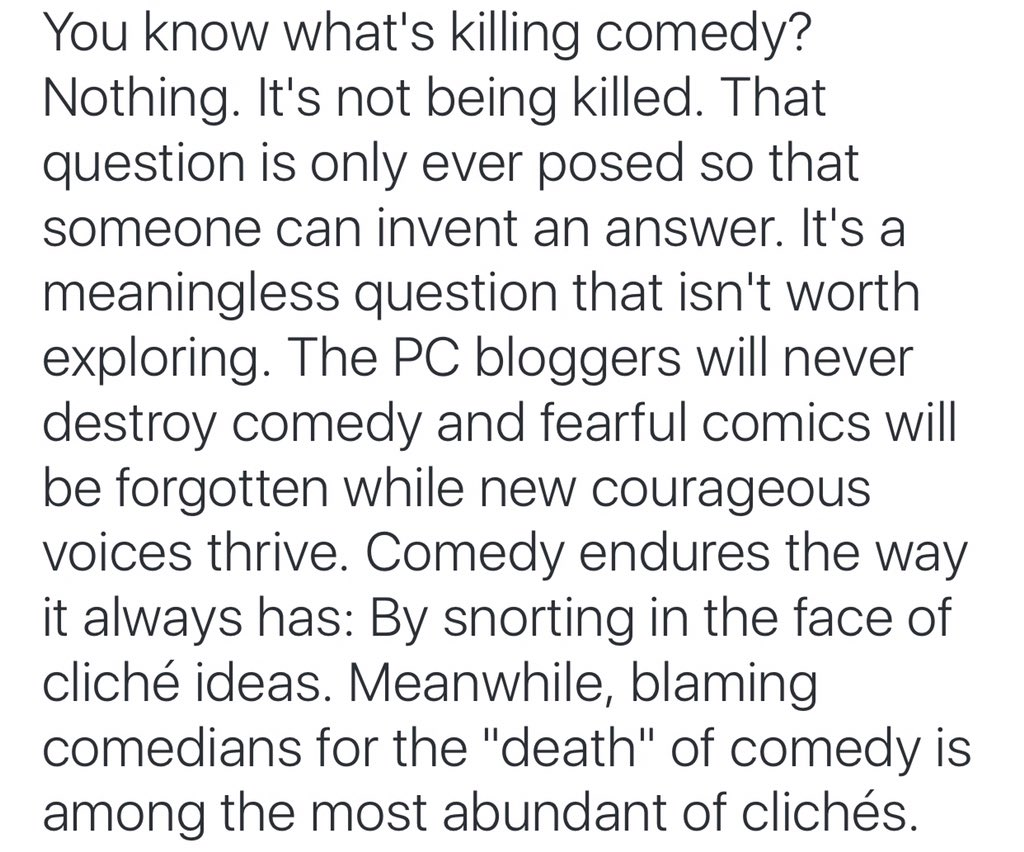 .@drewmichael  What's killing comedy?!? https://t.co/VwfxlF66EY