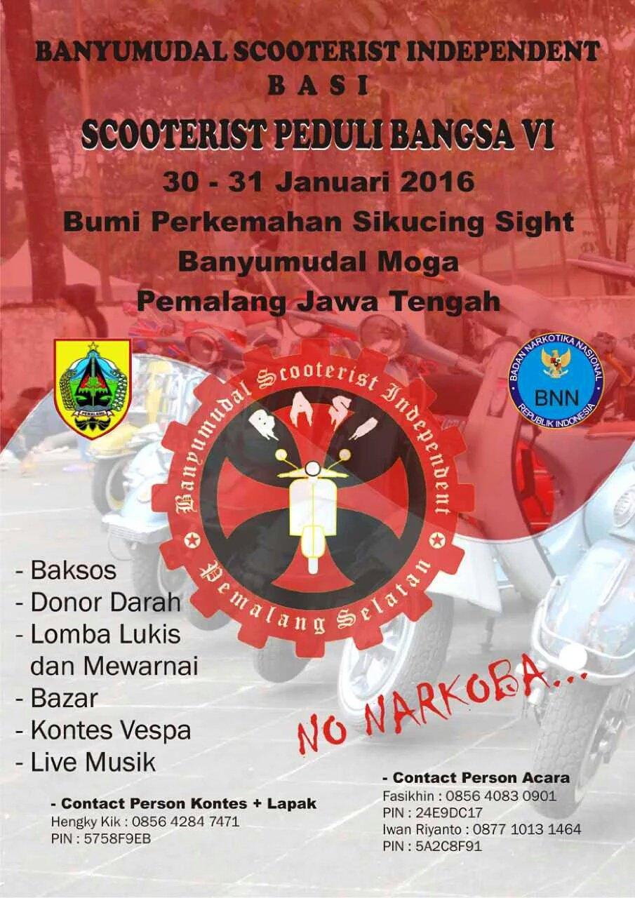 "EventVespaIndonesia on Twitter ""BANYUMUDAL SCOOTERIST INDEPENDENT BASI Present SCOOTERIST PEDULI BANGSA VI"
