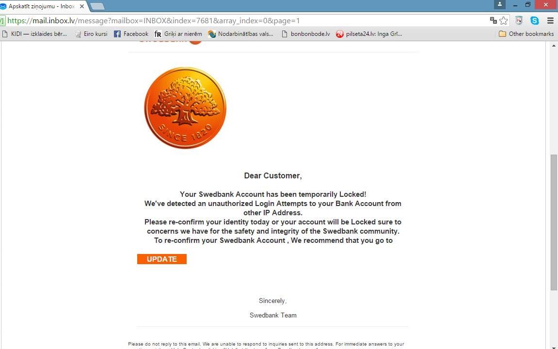 Uzmanību! Vairāki klienti saņēmuši viltus e-pastus bankas vārdā ar mērķi izvilināt datus. Pabrīdiniet arī draugus! https://t.co/Y7zmmYpVyU