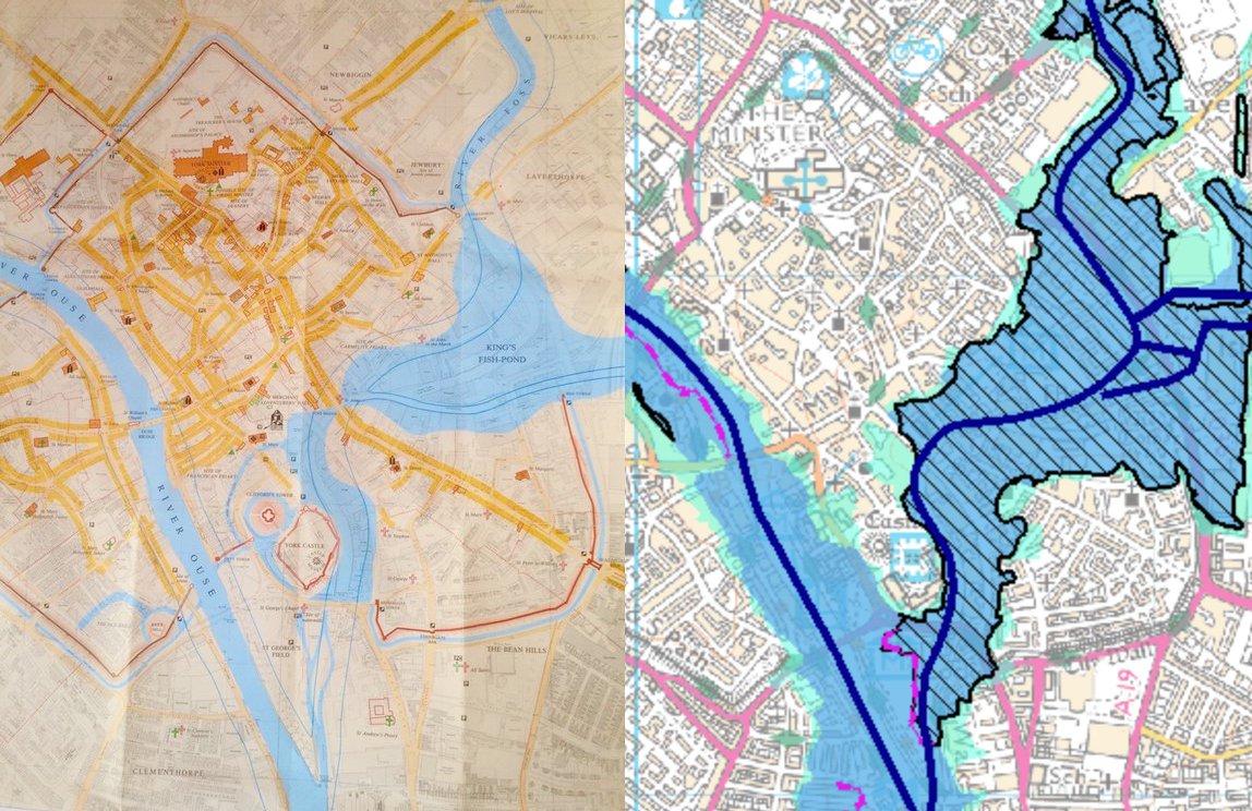 Chris Sharp on Twitter Map of Medieval York alongside todays – Flood Map York Uk