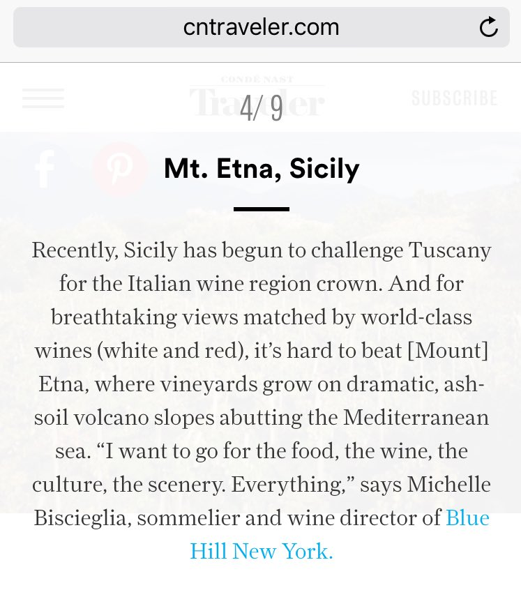 Sicily challenger for wine region crown @CNTraveler @bluehillfarm @michbisc We couldn't be happier! #sicilianwine