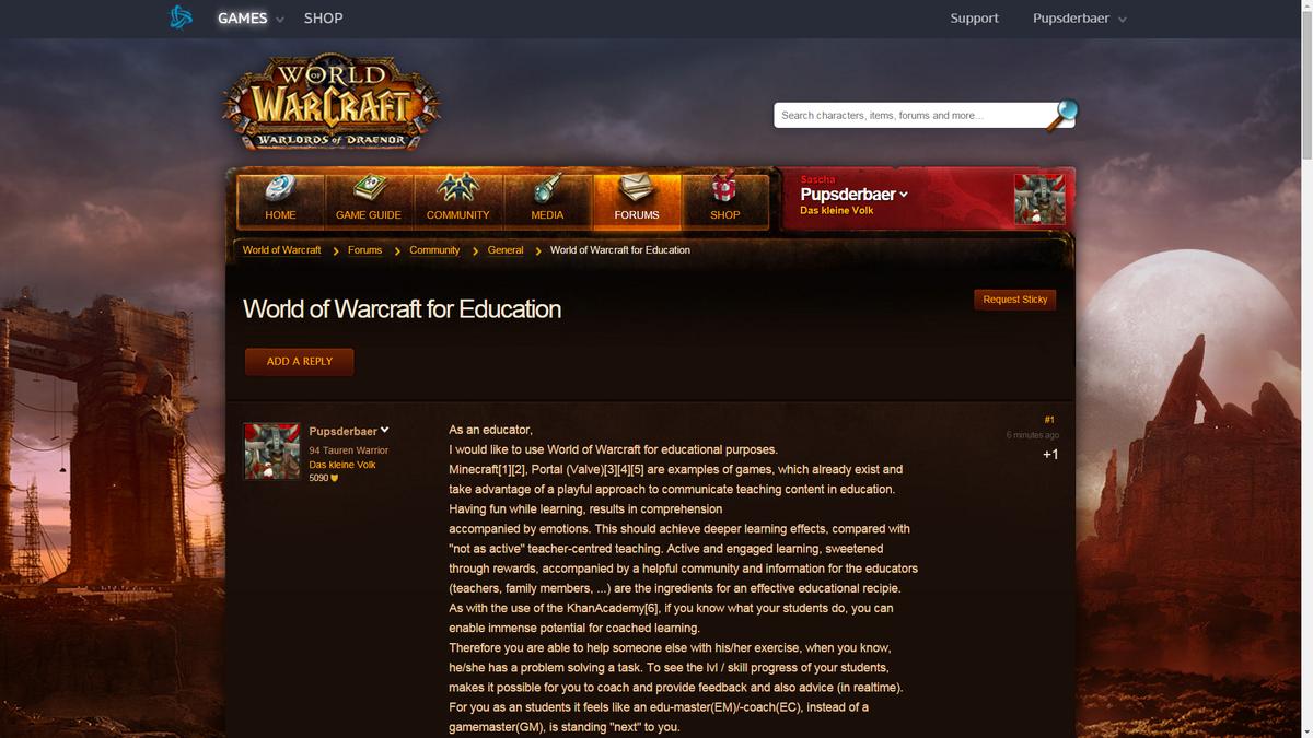 @BlizzardCS @DavidsonGifted WoW for Education #Forum http://eu.battle.net/wow/en/forum/topic/17223934211?page=1#0 …pic.twitter.com/7TQoqWrsMe