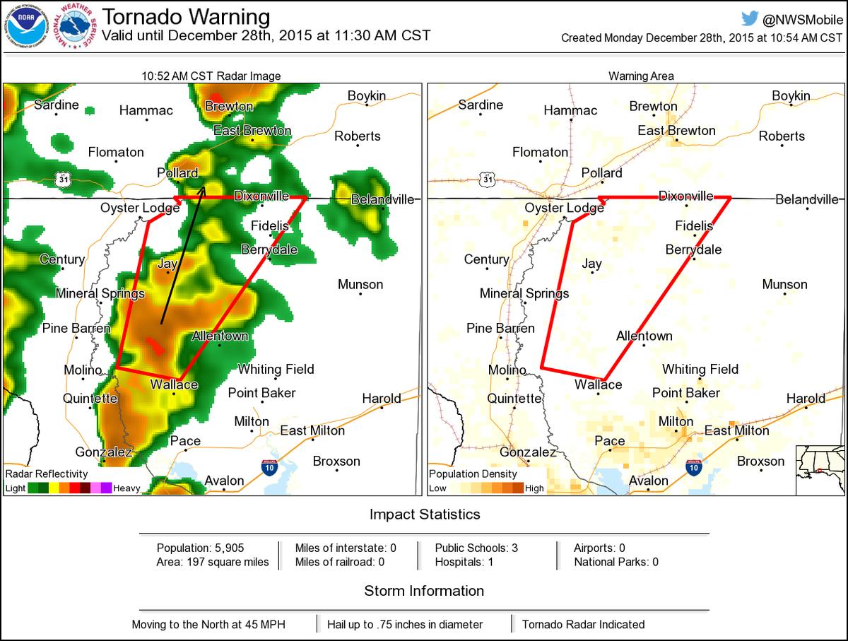 Tornado Warning Including Jay Fl Chumuckla Fl Pine Level Fl Until