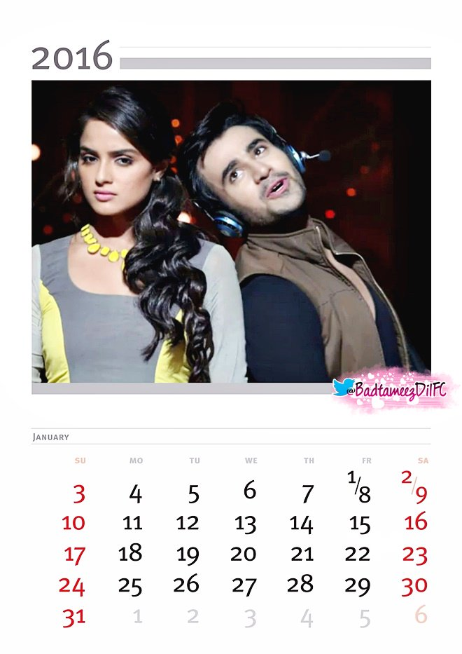 Badtameez Dil Calenders For year 2016  awesome must see