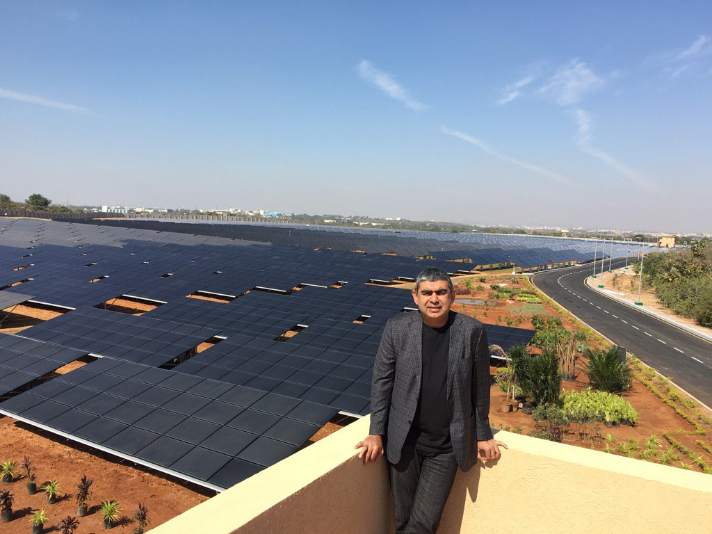 A sea of solar panels in our gorgeous @Infosys Hyderabad campus. Blue skies smiling at us... https://t.co/iuVWI4ioGu