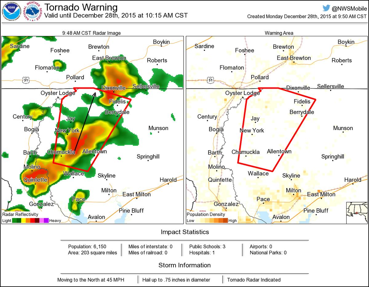 Tornado Warning Including Jay Fl Berrydale Fl Allentown Fl Until