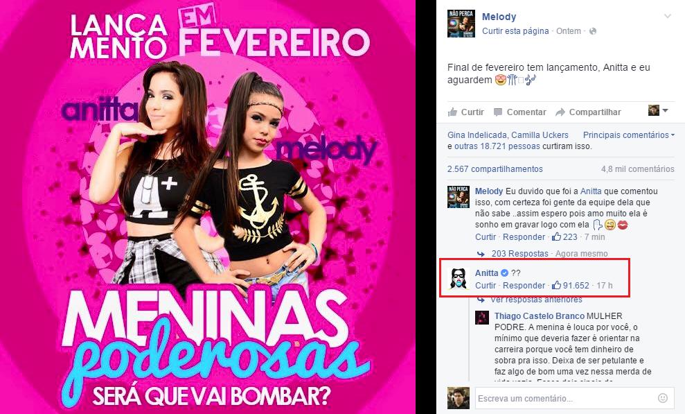 MC Melody anuncia projeto com Anitta --mas esquece de avisar Anitta https://t.co/y4vZ1otnTD