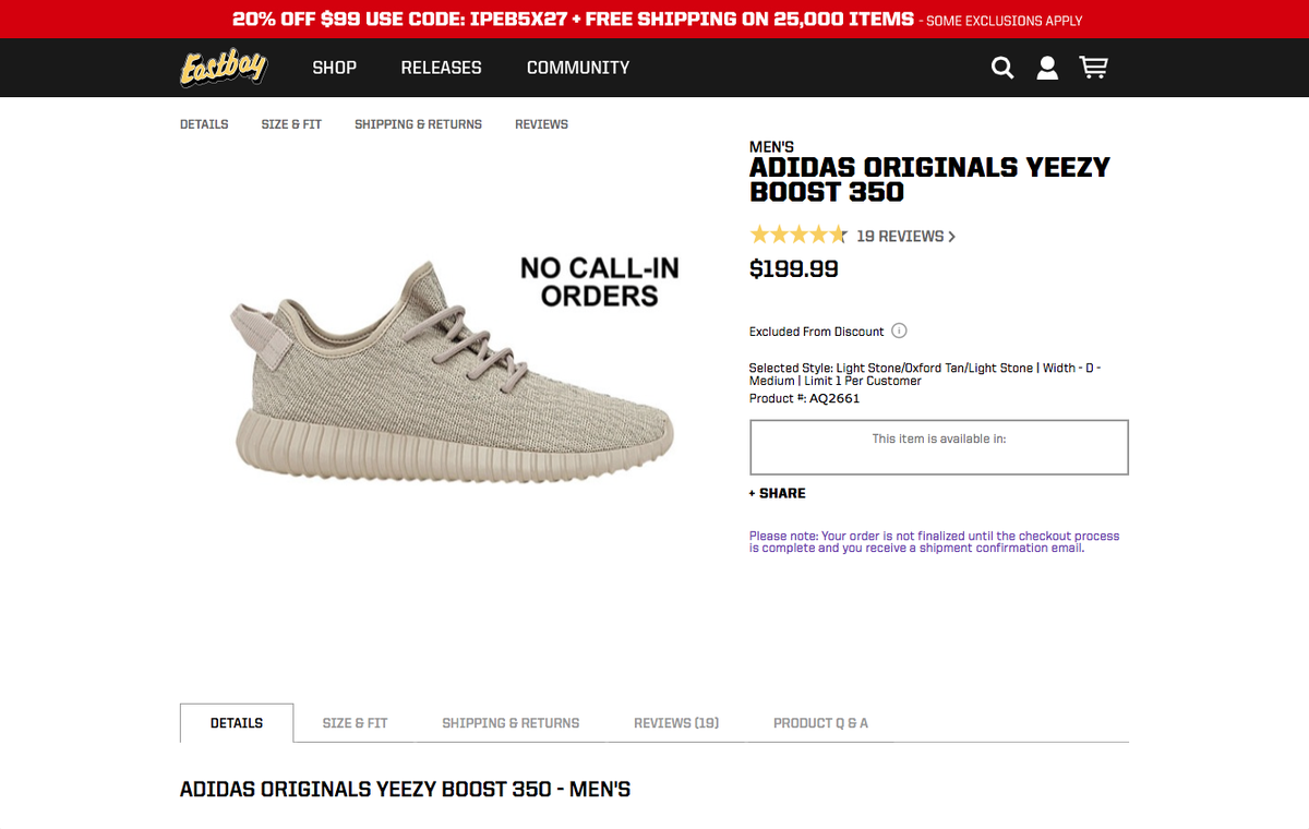 ab734dd1007 ... official store adidas alerts on twitter releasing at 8am on eastbay. adidas  yeezy boost 350