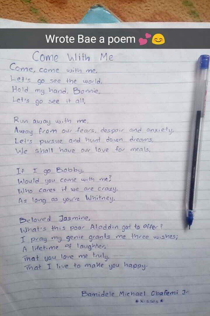4. So I wrote Bae a poem.