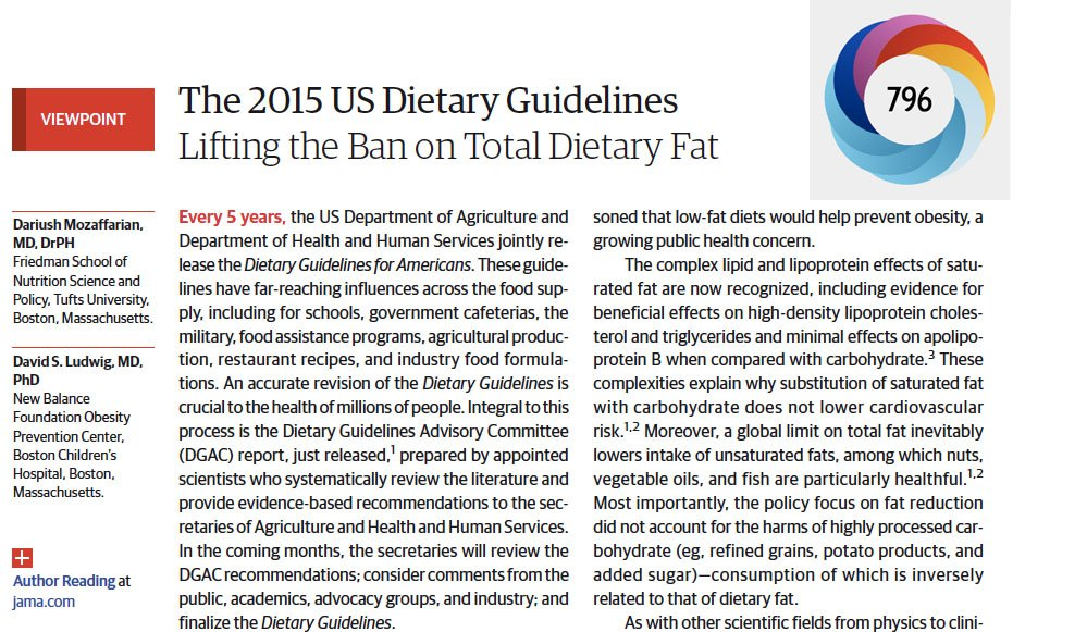 Top 10 JAMA Articles of 2015 #10: US Dietary Guidelines & Lifting the Total