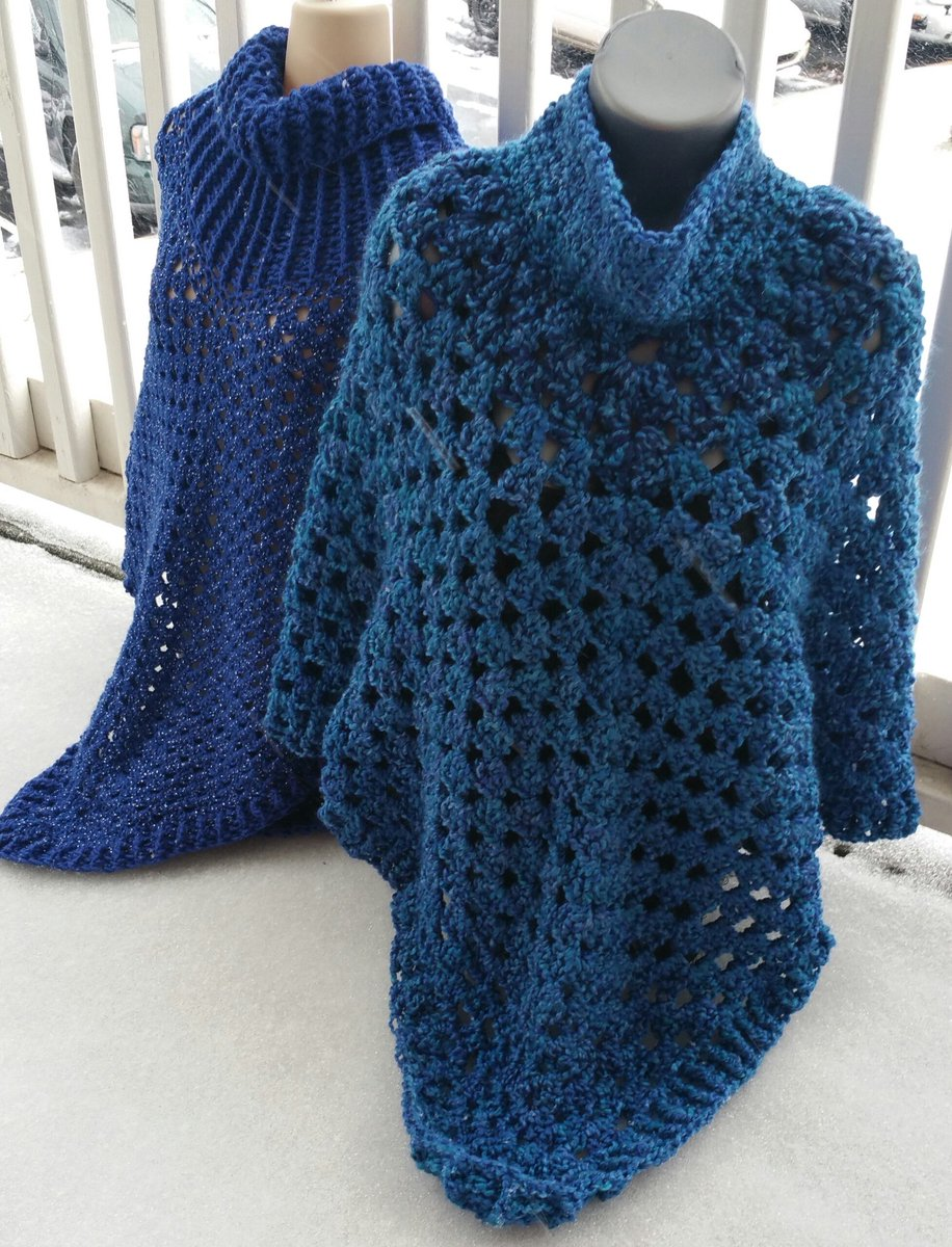 I used @LionBrandYarn  Homespun in Montana Sky to make this poncho! #crochet https://t.co/09fVCWN9i9