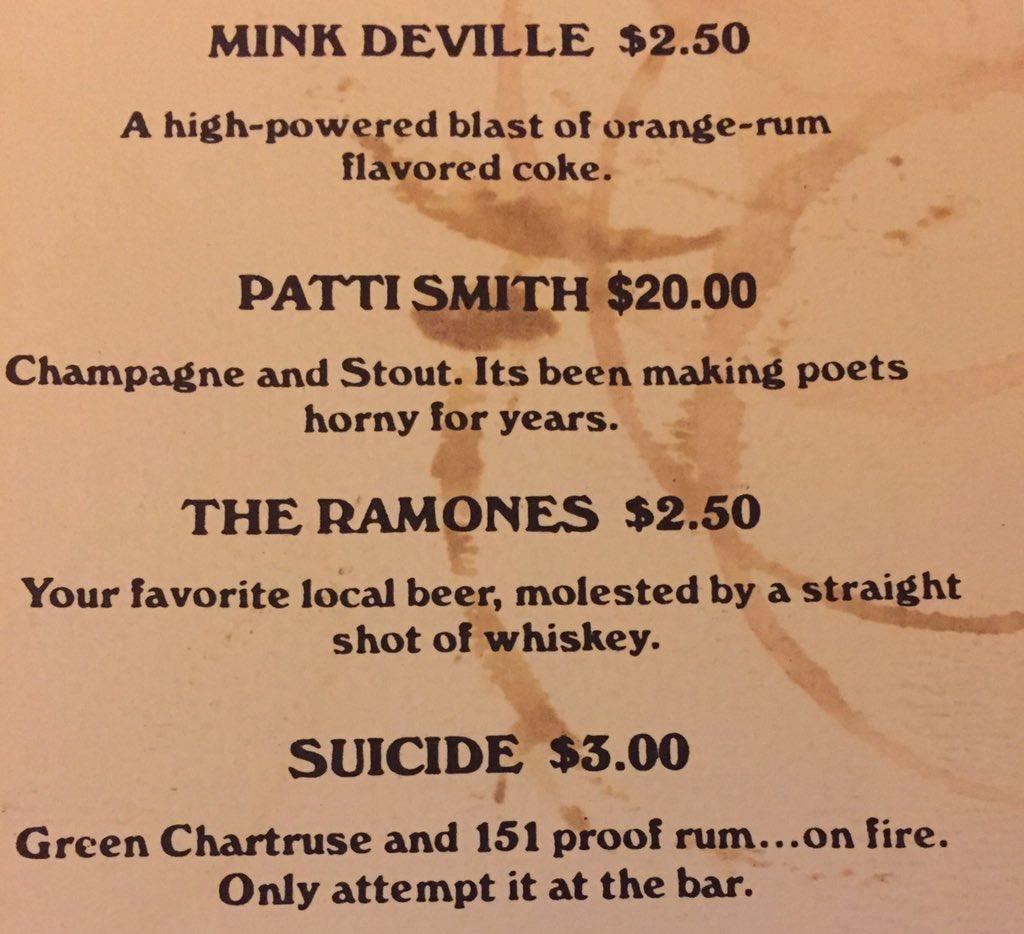 Cocktail list, Max's Kansas City, NYC, 1976. https://t.co/AuCQVJ4OMu