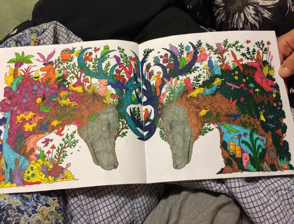 Jb On Twitter Mike And I Both Finished Our First Pages In The Animorphia Coloring Book Markers Bleed Tco HDj0neOVbF