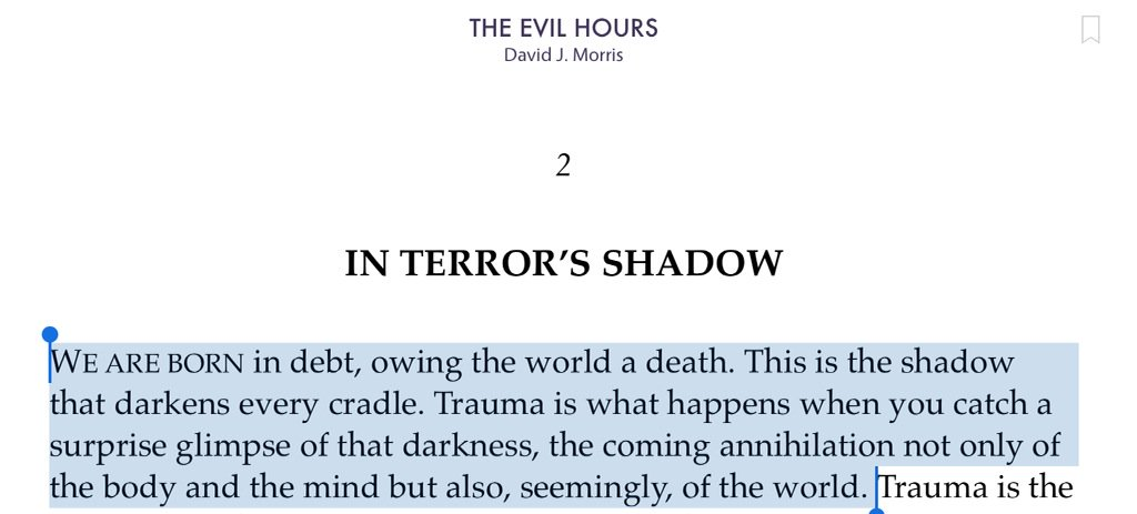 David J Morris evokes #trauma. Is this prose, poetry or both? No matter, this is remarkable, beautiful writing #PTSD https://t.co/ym4BYjsr0D