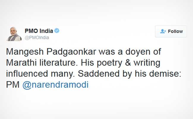 Narendra Modi expresses grief death renowned Marathi poet
