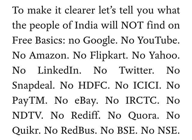 A list of some of the sites *NOT* available in #FreeBasics #NetNeutrality https://t.co/wyIMctCRIu
