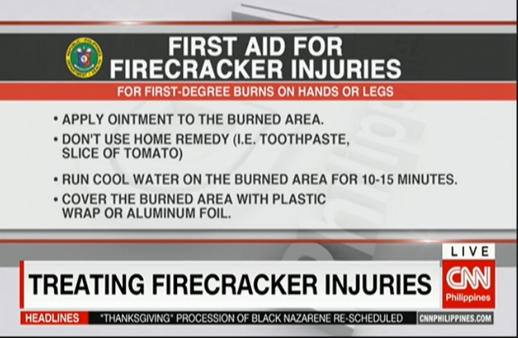 Some first aid tips for firecracker injuries | Nightly News  http://cnn.ph/1LXc9jG pic.twitter.com/m425OYQpgC