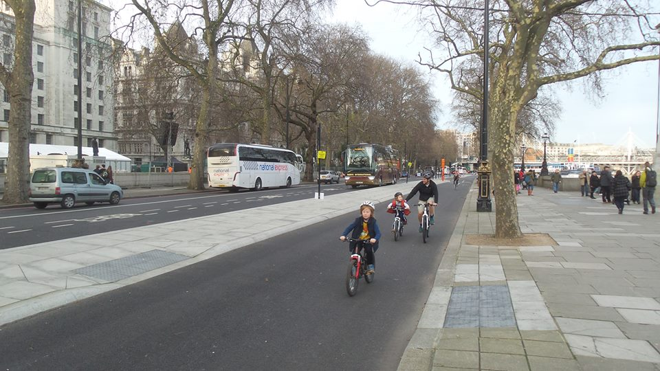 Children on London's new segregated cycle track
