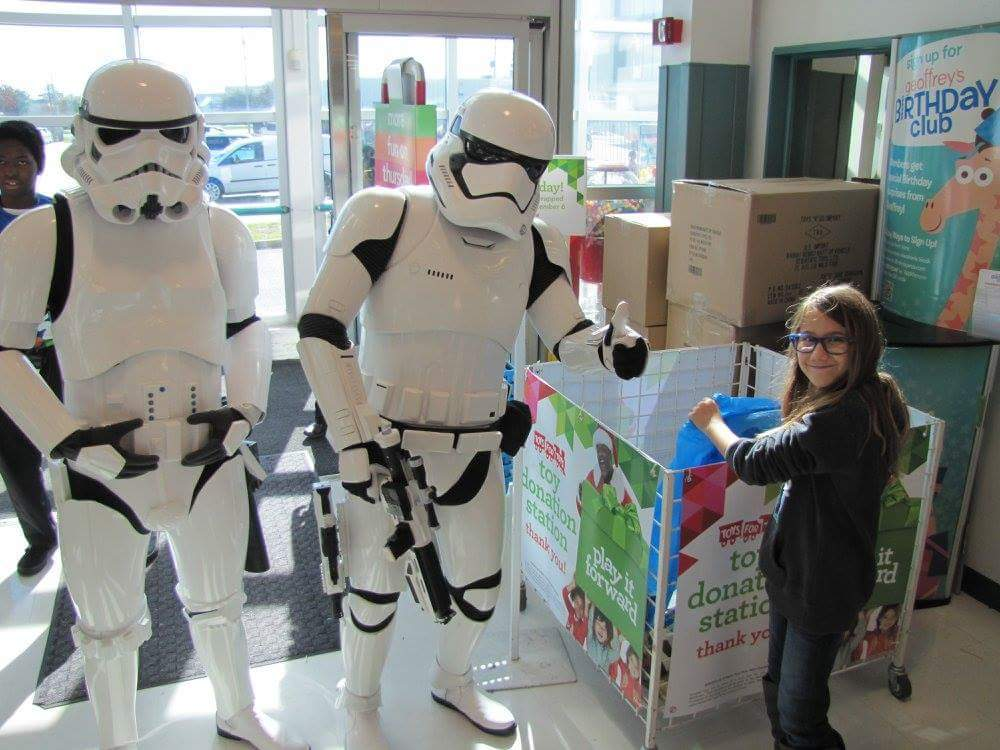 #501st Bast Alpha Garrison monitoring donations for the Marine Toys for Tots Foundation. #BadGuysDoingGood#StarWars""