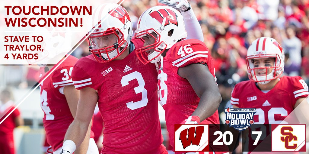 "Wisconsin Football on Twitter: ""Stave to Traylor for 6 ..."