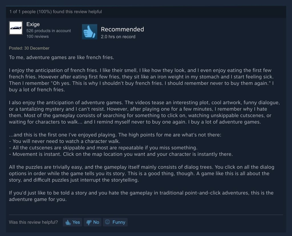 I think I have a new favourite review of Detective Grimoire on Steam #FrenchFries https://t.co/ZlUTaaOwnw