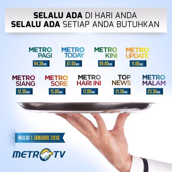 Puaskan dahaga informasi dengan rangkaian program buletin terbaru di @Metro_TV mulai 1 Januari 2016. #MetroTV2016