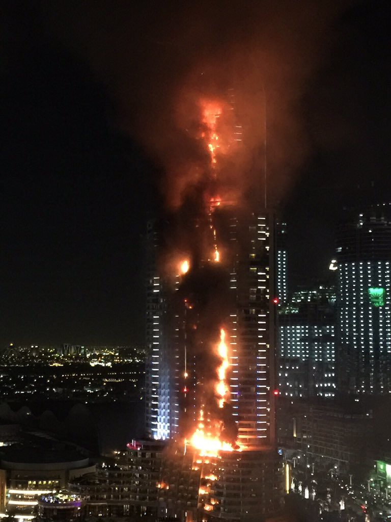 BREAKING: Massive fire at the Address Hotel in Dubai. Near Burj Khalifa https://t.co/2G35fU9XEV