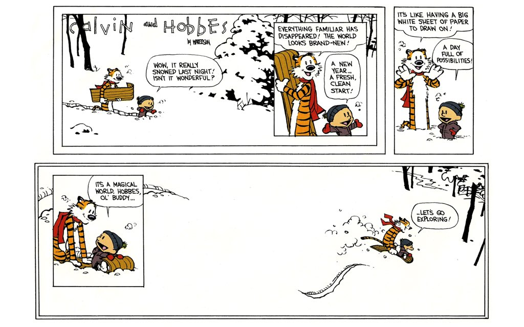 "The final Calvin and Hobbes strip came out today in 1995. ""Let's go exploring."" https://t.co/SSjNjSz78D"