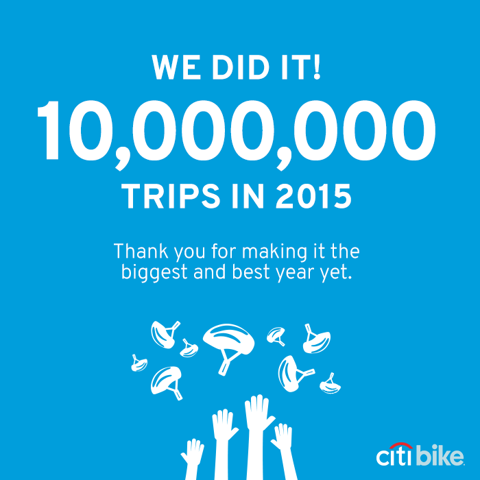You all are INCREDIBLE! 10 Million Trips in 2015. #citibike #bikenyc https://t.co/kA1QRIJPzL