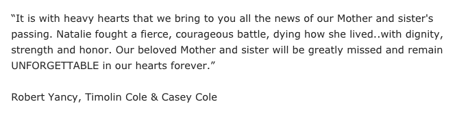 Here is a statement from the family on the passing of Natalie Cole. https://t.co/MLcbQwrJWX