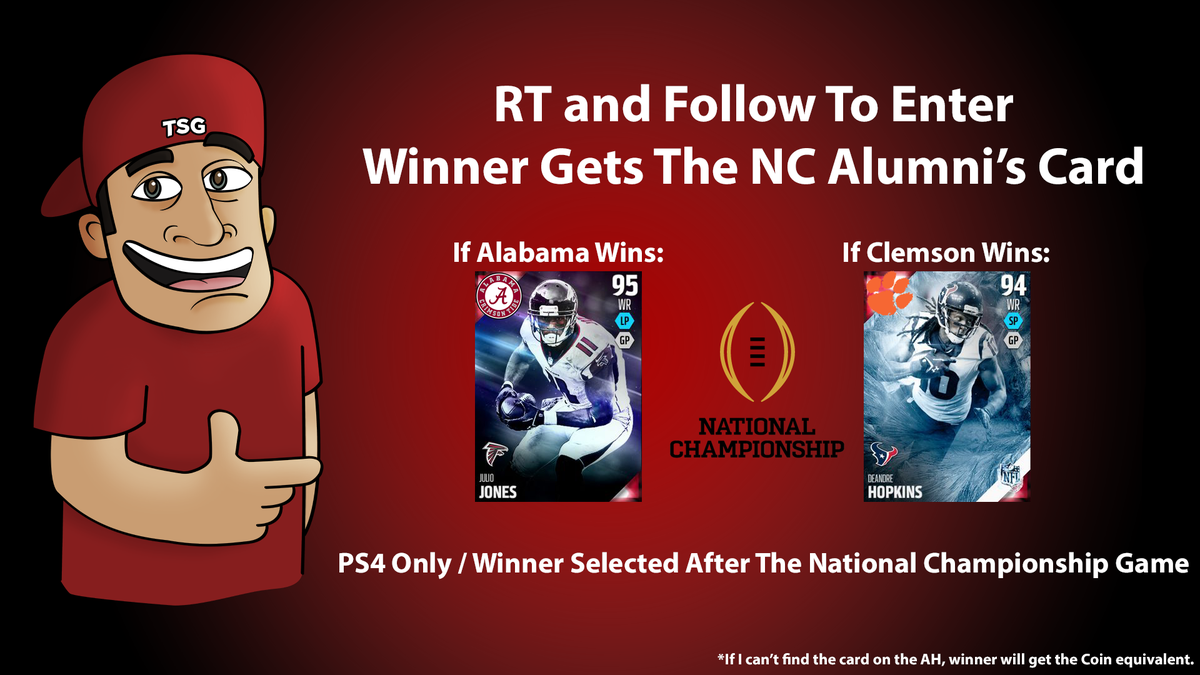 #CFBChampionship giveaway in @EASPORTS_MUT on PS4. If Bama wins, you get Julio. If Clemson wins, you get DeAndre. https://t.co/teCaP5jPmt