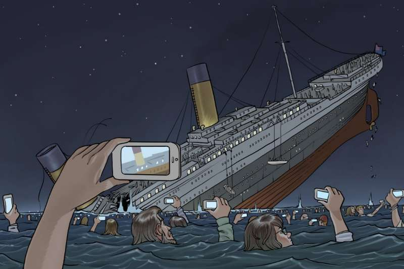 What the Titanic sinking today would have looked like. By illustrator Pierre Brignaud. https://t.co/HcFObe0qSE