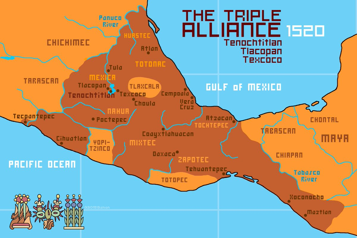 "Aztec Empire on Twitter ""Map of the Aztec empire in 1520"