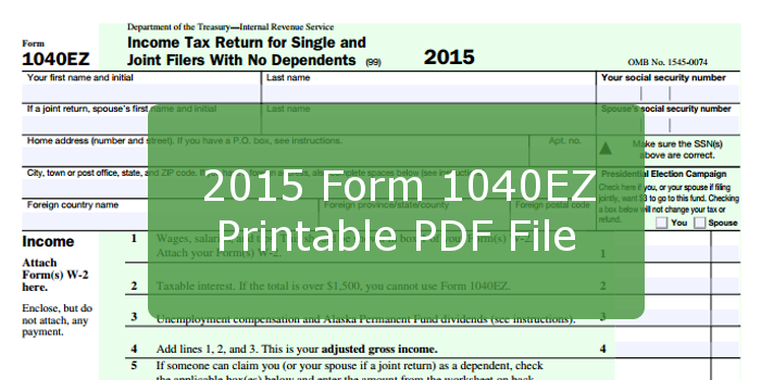 Income Tax Pro On Twitter Irs Updated 2015 Form 1040ez However