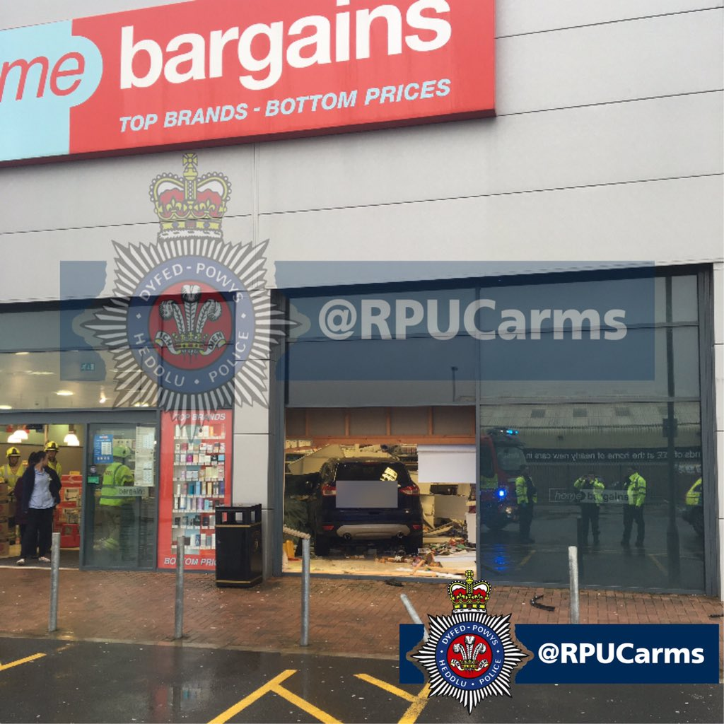 Car Crashes Into Home Bargains Store In Carmarthenshire Wales
