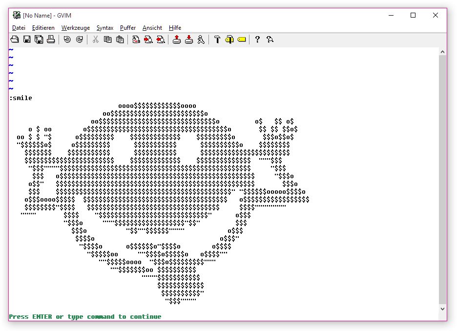 Vim 的作者觉得使用 Vim 的用户不是天天都开心,于是在 7.4.1005 版本中添加了一个新的 :smile 命令。(via https://t.co/XlgoHf1bo4) https://t.co/65lGBCeDUy