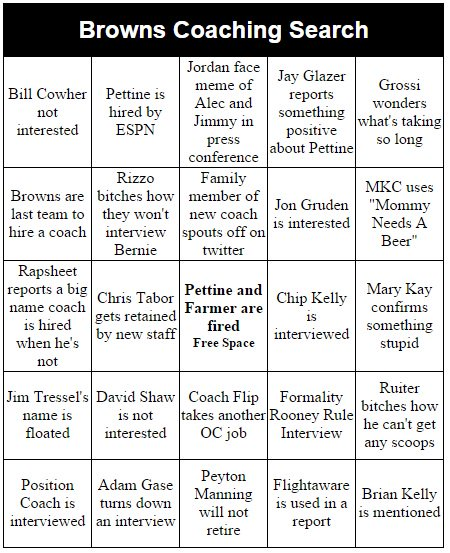 Browns Coaching Search Bingo https://t.co/1vdBoFUXp5