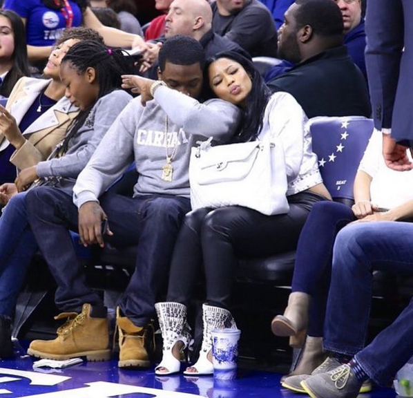 0818c03fe8 nicki minaj and meek mill do date night courtside at the 76ers game