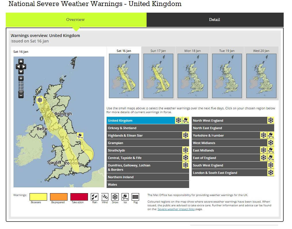 Snow to fall across uk as severe weather warnings issued uk news the guardian - Www met office weather forecast ...