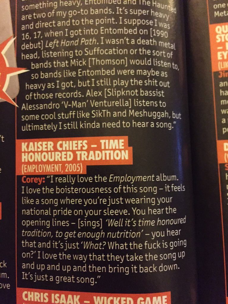 @KaiserChiefs in Metal Hammer mag as recommended by Slipknot