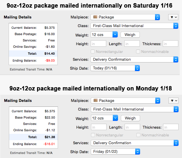 The struggle of smalltime international fulfillment. Here's the difference in USPS 1st Class Int from today to Mon. https://t.co/NrJhnM7kfO