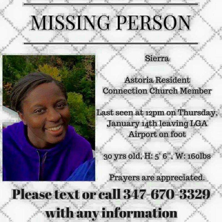 My friend Sierra is still missing! Last seen Thursday the 14th leaving Laguardia airport on foot. Please retweet! https://t.co/IJ8dpu6XF8