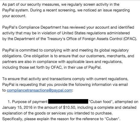 "So... I tried to pay someone back for ""Cuban Food"" on PayPal and ran afoul of OFAC for saying ""Cuban."" Absurd."