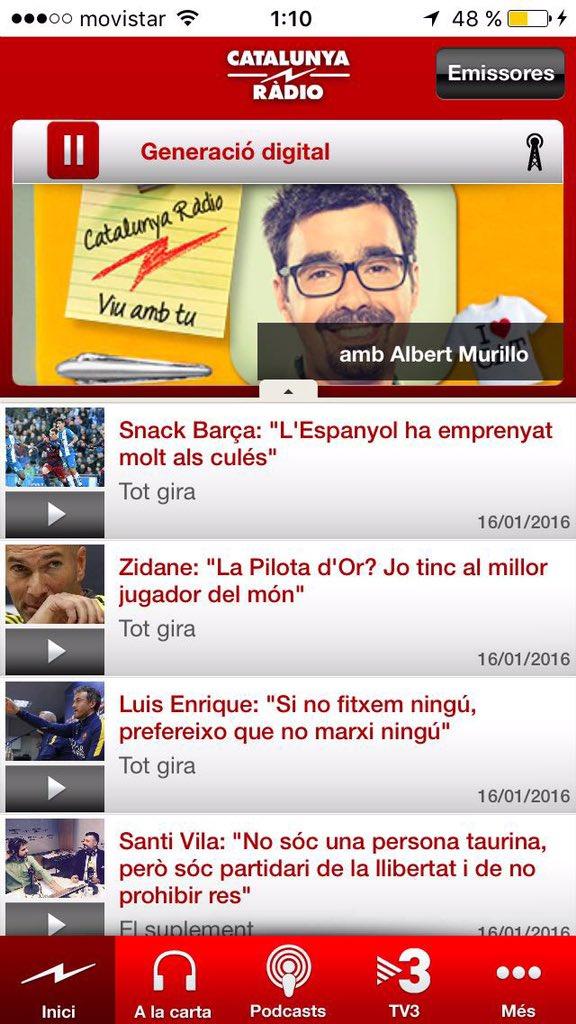 Com ens escoltes? Aquí un oïent ens envia la captura del seu telèfon amb l'app de @CatalunyaRadio. (Falta bateria) https://t.co/gaxCNd4Nx1