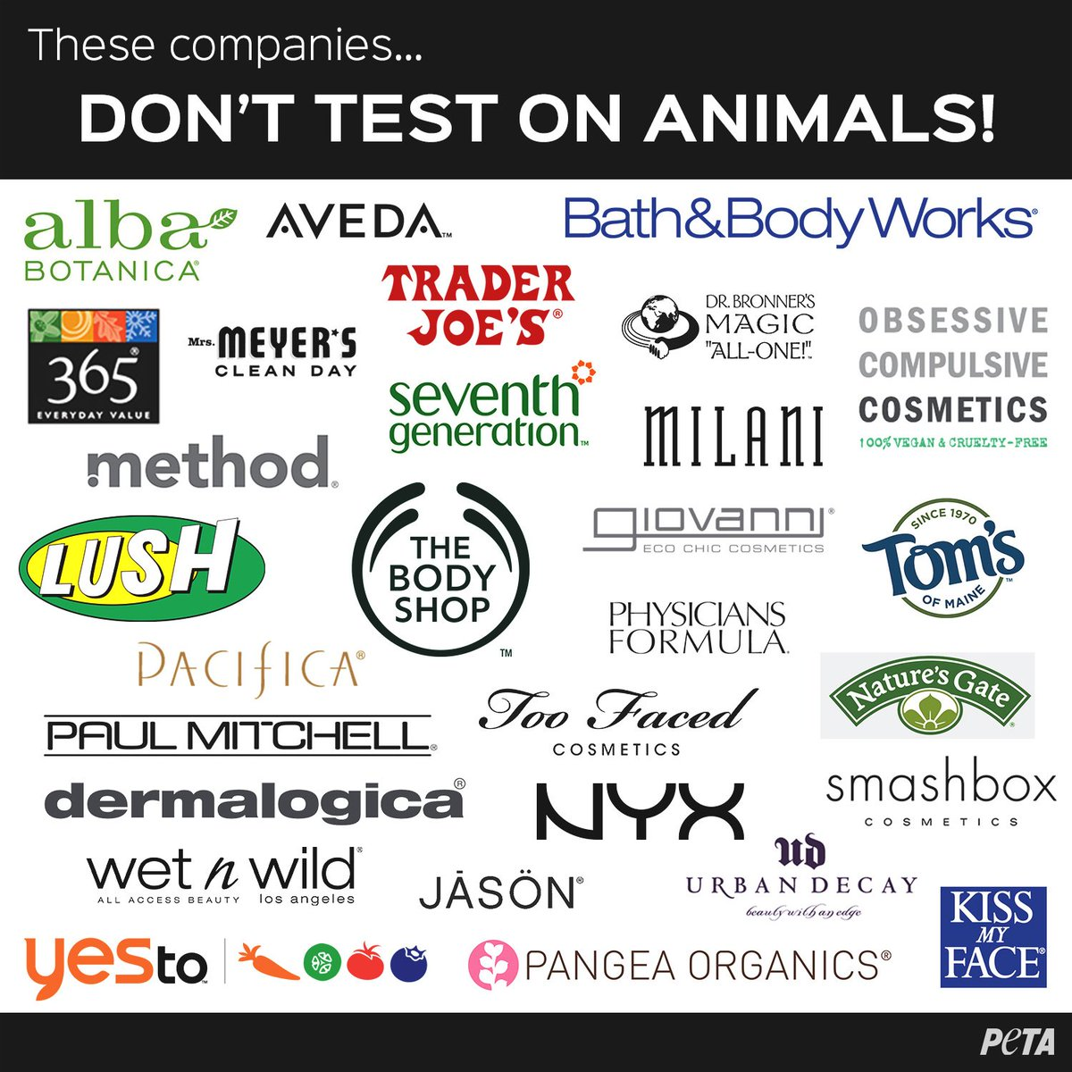 "peta on twitter: ""these companies don't test on animals"