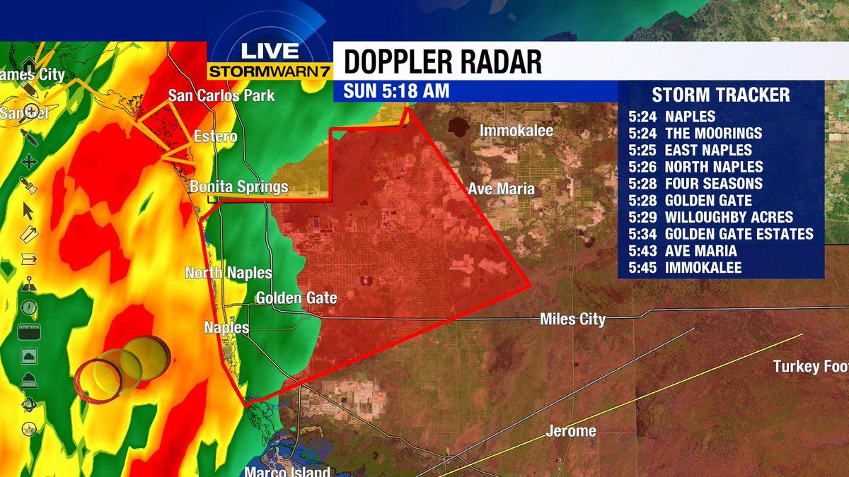 TORNADO WARNING FOR #NAPLES  #GOLDENGATE AND VICINITY UNTIL 5:45. SEEK SHELTER NOW! #SWFL #FLwx https://t.co/X1kicR9FL4