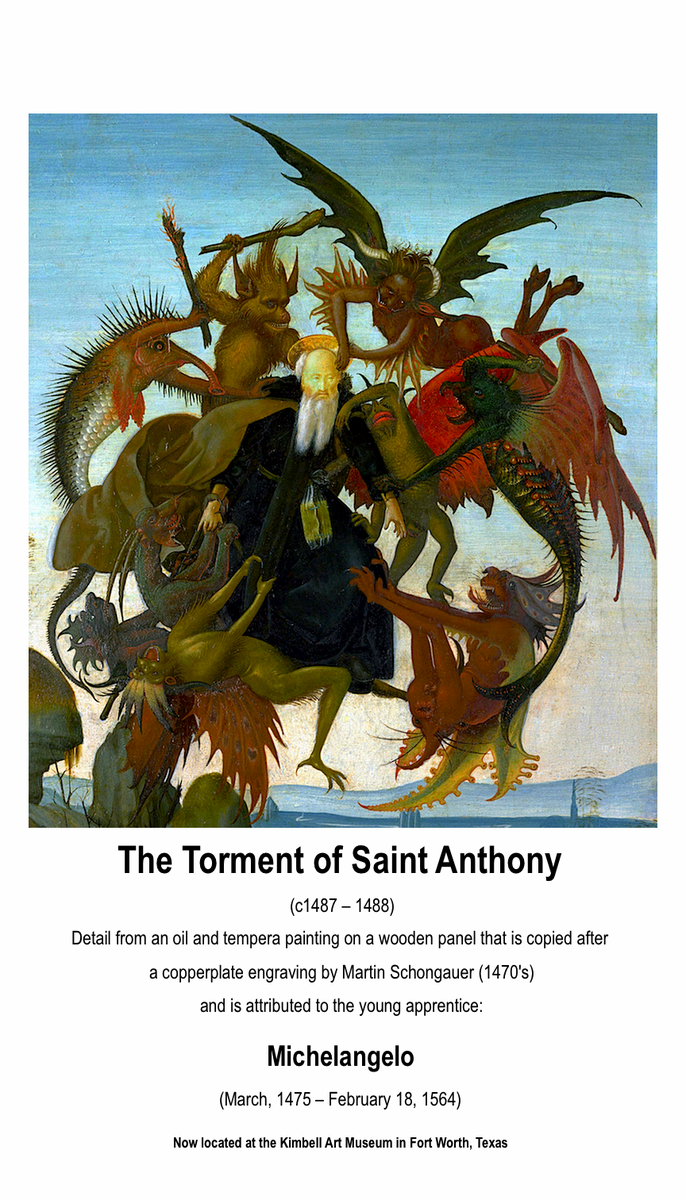 #Catholic #Christian Renaissance #Art The Torment of Saint Anthony (c1487 -­ 1488), attributed to young Michelangelo https://t.co/T4CNAVpjZp