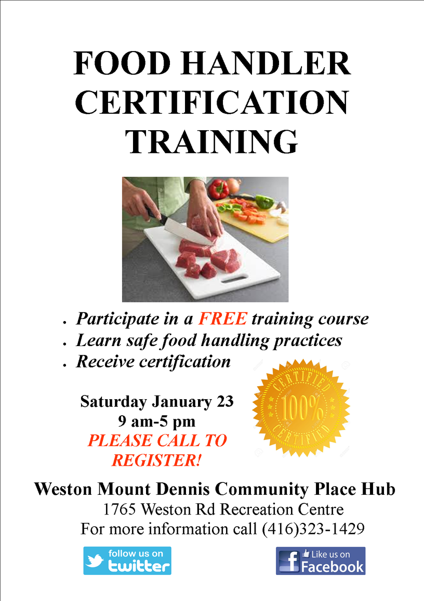 The Community Place Hub On Twitter Free Food Handler Certification